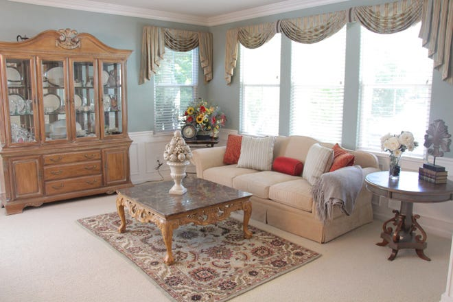 In this living space, valances are used to add color and pattern.