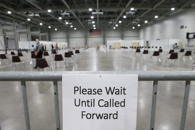A make-shift waiting area is set up Wednesday inside of Stormont Vail Events Center for the first recipients of the Pfizer COVID-19 vaccine. In recent days, vaccine shipments have gone to most of the state's 105 counties.