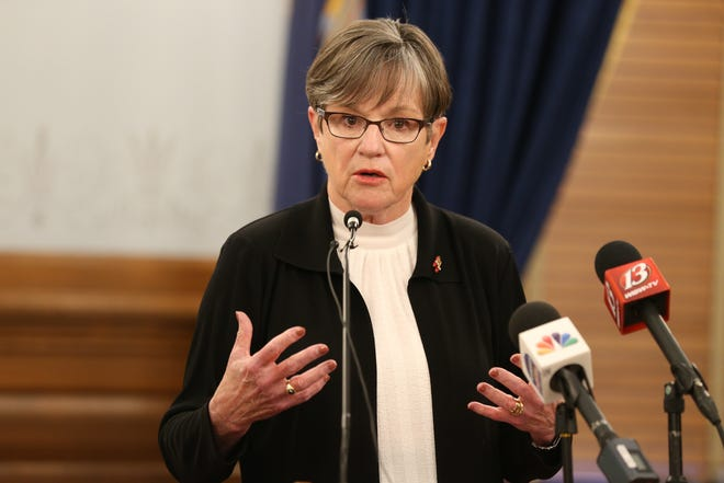 Gov. Laura Kelly answers questions related to vaccine distribution and the COVID-19 pandemic during a news briefing Wednesday at the Statehouse.