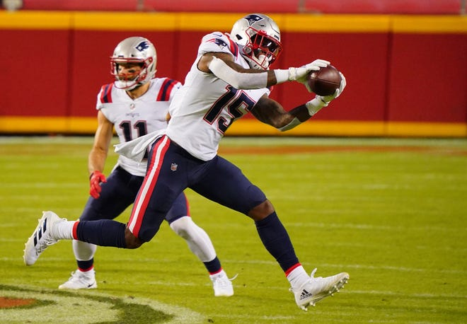 Patriots wide receiver N'Keal Harry catches a pass against the Chiefs during the second quarter of a game in early October.