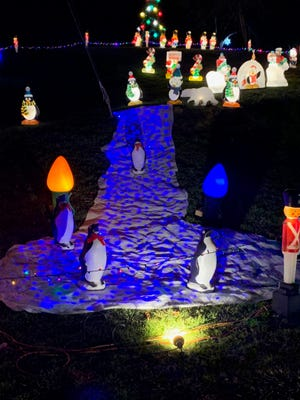 Penguins have been added to the Christmas display of Jim and Marilyn Page on Goshen Valley Road.