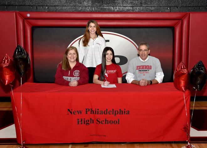 New Philadelphia High School senior libero Carly Pry signed her letter of commitment to play volleyball at Edinboro University, located in Edinboro, Pennsylvania on Tuesday. Carly is seated between her parents Carla and Joe Pry. Standing is her sister Josie Pry. Pry was a four year starter, letter winner and was captain her senior year. She earned Honorable Mention All-Ohio Division I, ECOL Player of the Year, ECOL 1st team, District 5 Division I Player of the Year, District 5 1st team and OVAC 1st team.