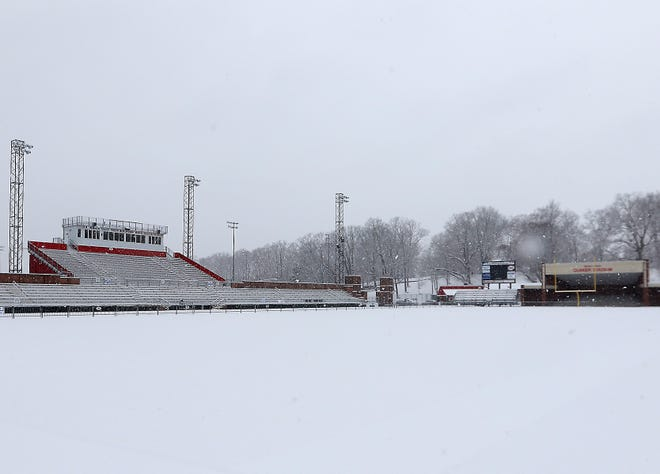 A blanket of fresh snow covers Wody Hayes Quaker Stadium Wednesday afternoon.