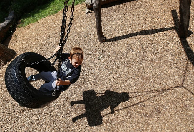 Andrew Hargrove, 4, of Westerville plays on the tire swing July 17 at Blendon Woods Metro Park, 4265 E. Dublin-Granville Road in Columbus.