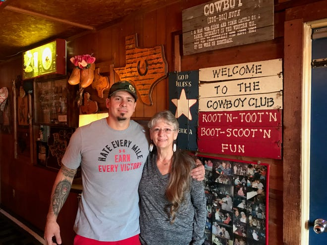 """Cut: Cowboy Club owner """"Mama Sandy"""" Hemel and her son John Kehler are working to re-classify their bar as a restaurant so that it can open again soon."""