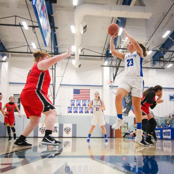 Bailey Hendership pulls up for a floater in the big win over Gainesville
