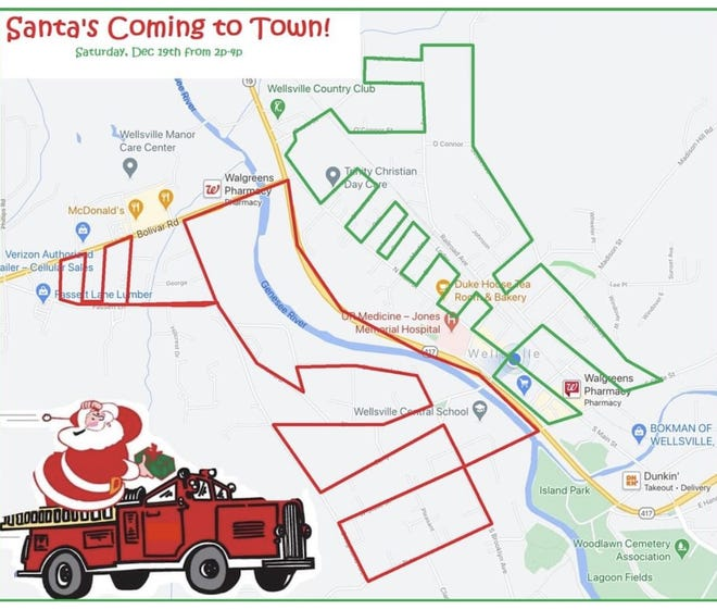 Santa will visit the southwest side of town (RED) first at 2 p.m., and the northeast (GREEN) beginning at 3:30 p.m.