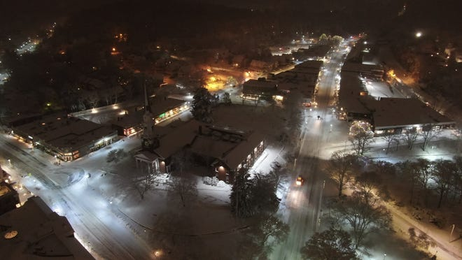 Wellesley resident Michael Tobin took this drone photo of downtown Wellesley during the first storm of 2019.