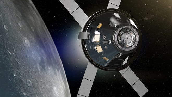 Artist rendering of the the Orion spacecraft which will carry astronauts on an orbit around the moon for the Artemis II mission.