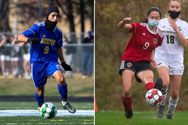 Milton's Chance Rose, left, and CVU's Jesse Klein, both No. 9s for their teams, were named high school All-Americans by the United Coaches Soccer organization.