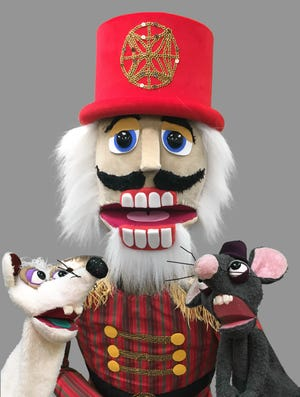 """The Nutcracker and a couple of his pals, as seen in Madcap Puppets' production of """"The Nutcracker."""""""