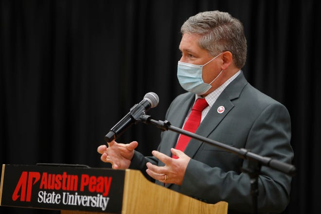 Dr. Michael Licari answers questions during a public session at Austin Peay State University's Morgan University Center in Clarksville, Tenn., on Wednesday, Dec. 9, 2020. Licari was selected as the school's 11st president. His first day is March 1, 2021.