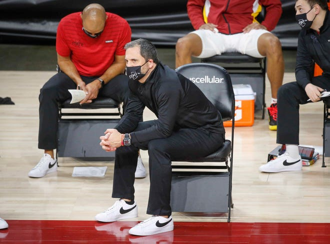 Iowa State head coach Steve Prohm watches his Cyclones from the sideline in the second half against Kansas State on Tuesday, Dec. 15, 2020, at Hilton Coliseum in Ames.