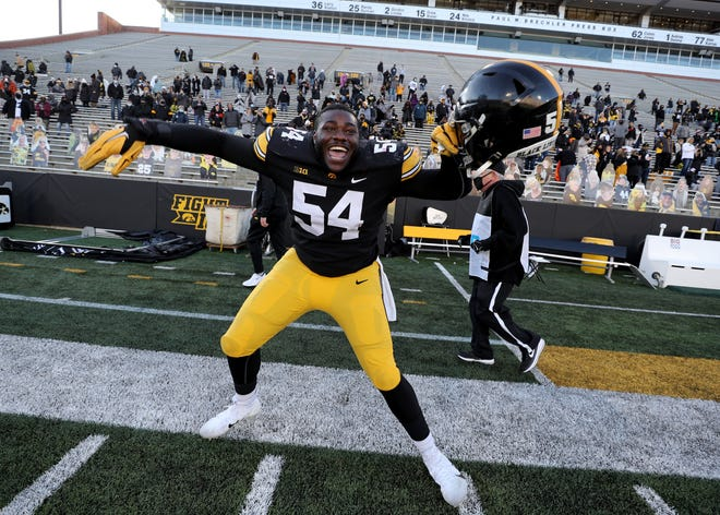 Daviyon Nixon's play in the trenches allowed Iowa's linebackers to make a ton of defensive plays. Here, he celebrates the Nebraska win.
