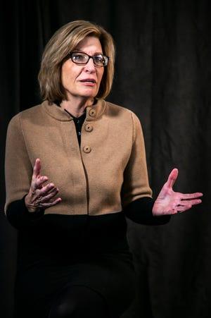 Democrat Rita Hart speaks during an interview, Tuesday, Dec. 15, 2020, at the Press-Citizen office in Iowa City, Iowa.