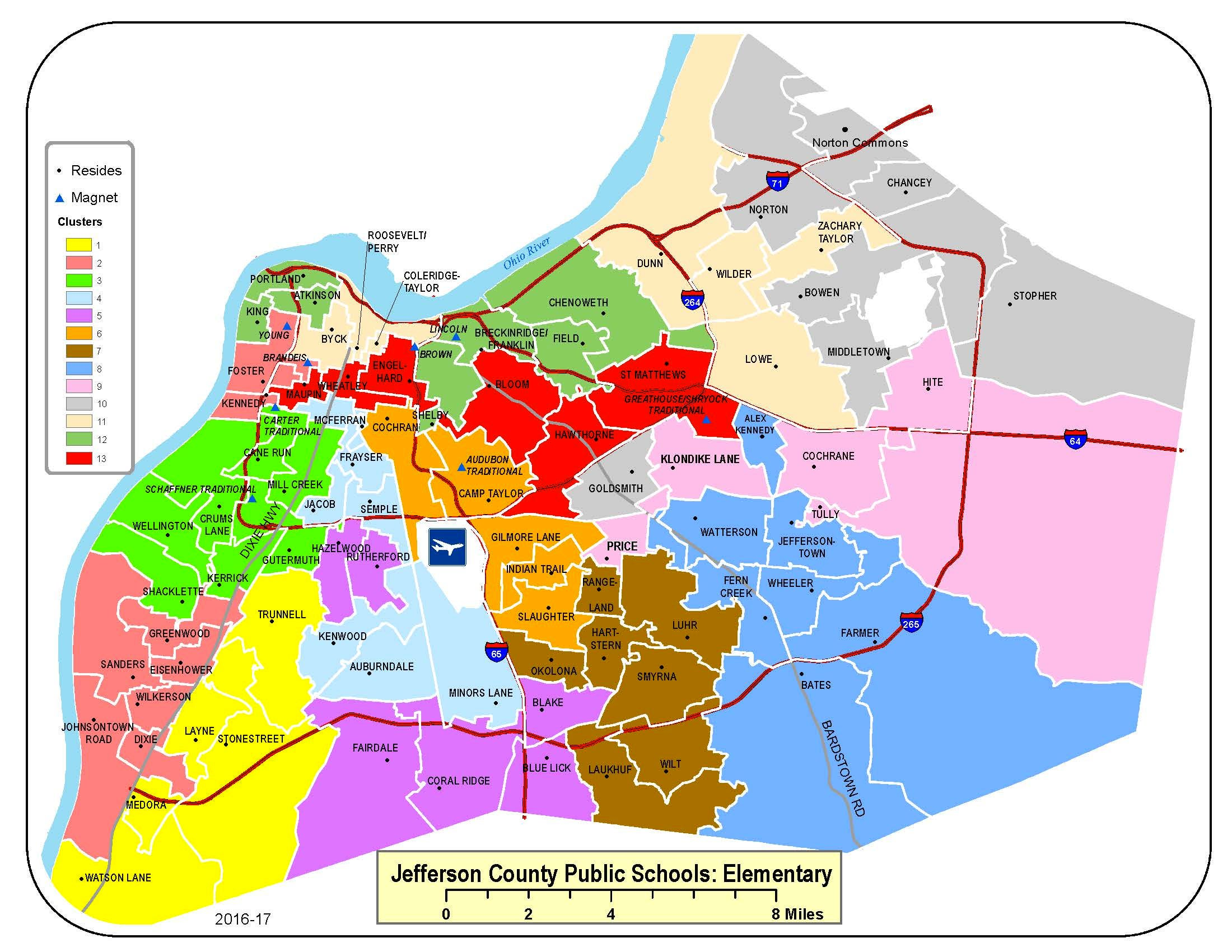A map of the 13 elementary clusters under Jefferson County's current student assignment plan. Dec. 16, 2020
