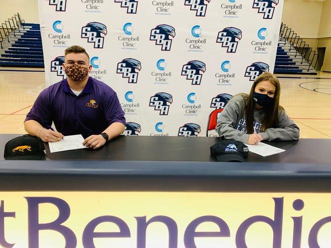 St. Benedict's Jackson Smith (left) signed to play football at Olivet Nazarene University and Catey Welch signed to play lacrosse at the University of Alabama Huntsville on Wednesday, Dec. 16.