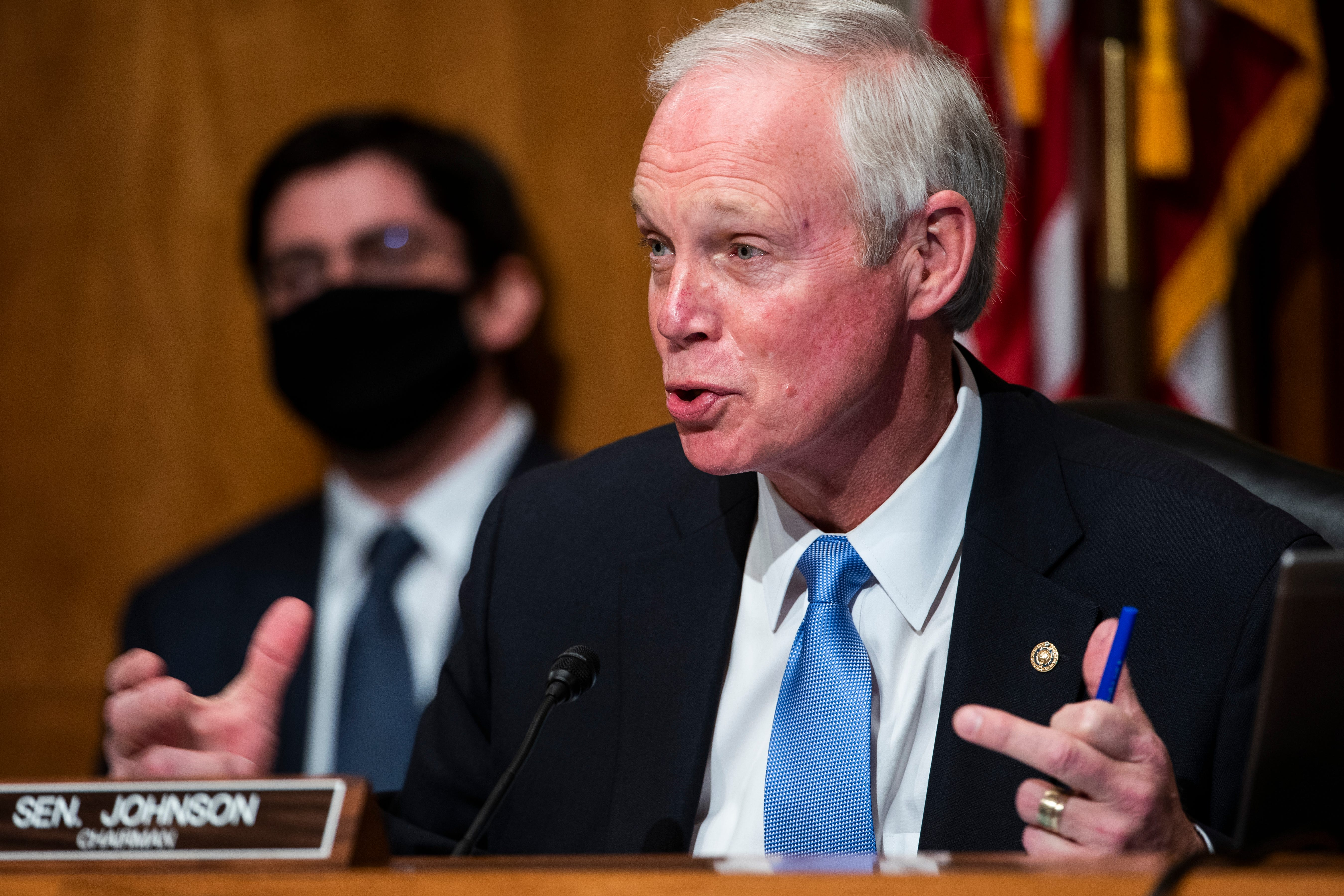 Sen. Ron Johnson, R-Wis., who was then chairman of the Senate Homeland Security and Governmental Affairs Committee, speaks during a hearing to examine claims of voter irregularities in the 2020 election.