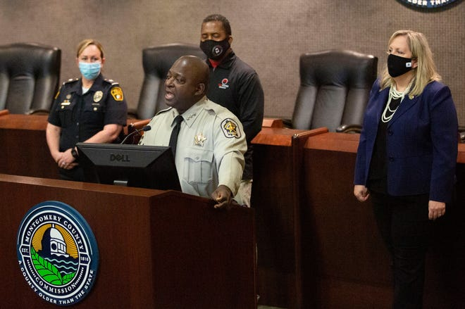 Montgomery County Sheriff Derrick Cunningham speaks during a news conference urging citizens to submit information to CrimeStoppers.