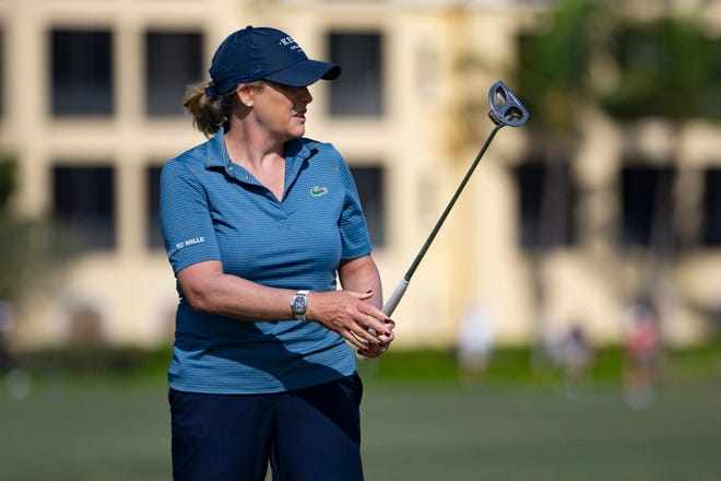 Cristie Kerr watches her ball roll on the ninth hole during the CME Group Tour Championship pro-am, Wednesday, Dec, 16, 2020, at the Tiburon Golf Club in North Naples, Florida.