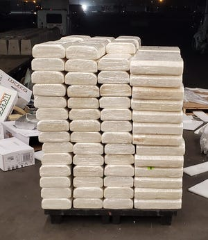U.S. Customs officers uncovered boxes of lighting fixtures containing 2,570 pounds of methamphetamine at the Ysleta Port of Entry in El Paso.