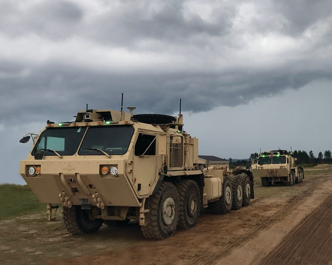 File photo of an Oshkosh Corp. Pallatized Load System vehicles used to develop the company's Unmanned Ground Vehicle system.
