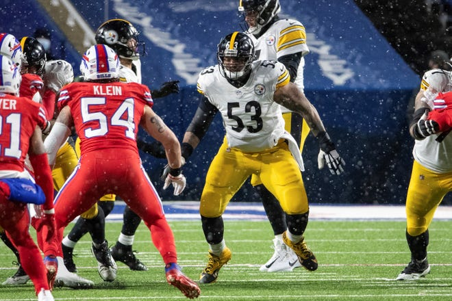 Pittsburgh Steelers center Maurkice Pouncey (53) blocks during an NFL football game, Sunday, Dec. 13, 2020, in Orchard Park, N.Y. (AP Photo/Matt Durisko)