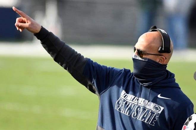 Penn State head coach James Franklin makes a point during an NCAA college football game against Michigan State in State College, Pa., on Saturday, Dec. 12, 2020. (AP Photo/Barry Reeger)