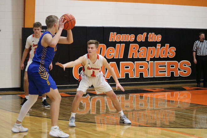 Colin Rentz of Dell Rapids defends a Baltic player on Monday, Dec. 14, 2020 at the Dells gym.