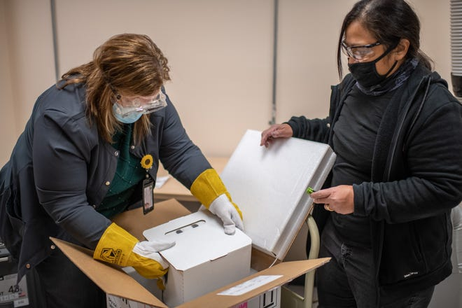 The Pfizer COVID-19 vaccine arrived in Tulare County Wednesday. it is being stored in an ultra-deep freezer with the first vaccinations expected to begin this week at area hospitals and nursing homes.