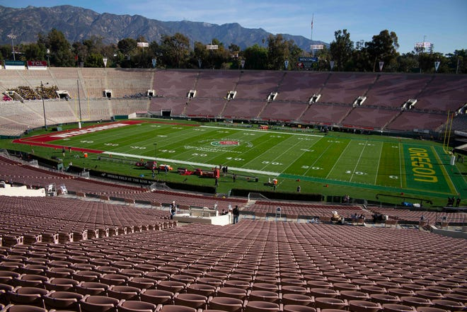 The Rose Bowl, here seen before the 2020 game, was to have been a semifinal in the College Football Playoff.