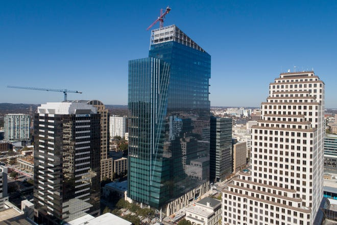 The Indeed Tower, still under construction in downtown Austin, is where the Teacher Retirement System of Texas leased some expensive office space, the cost of which the American-Statesman uncovered.