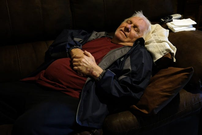 Cline Meredith relaxes in his favorite spot in the house. The couch is being replaced by a new one from Austin's Couch Potatoes, but Cline isn't as able to do as much with grandchildren Aiden and Anthony.