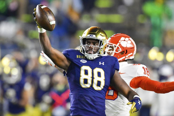Notre Dame wide receiver Javon McKinley reacts after a third quarter catch in the Fighting Irish's 47-40 win over Clemson in early November. The teams meet again on Saturday for the ACC championship game.