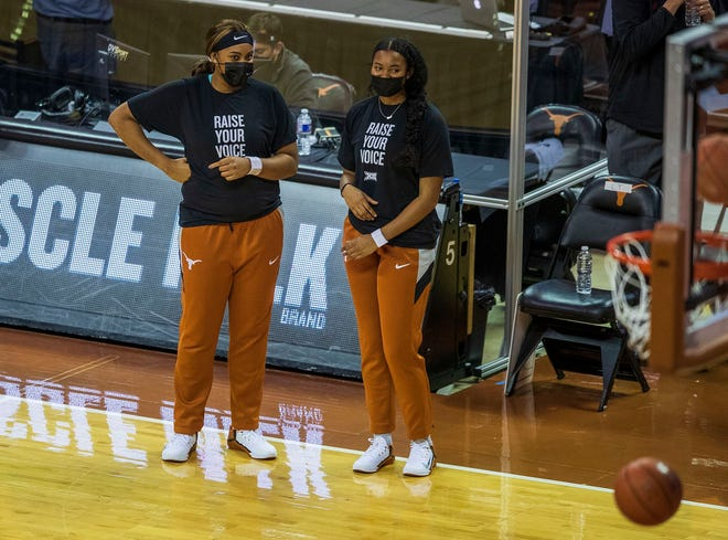 Texas junior Lauren Ebo, left, speaks with teammate Elyssa Coleman before the Louisiana Tech game at the Erwin Center on Dec. 2. Ebo, who transferred from Penn State in April, will make her Longhorns debut on Friday night.