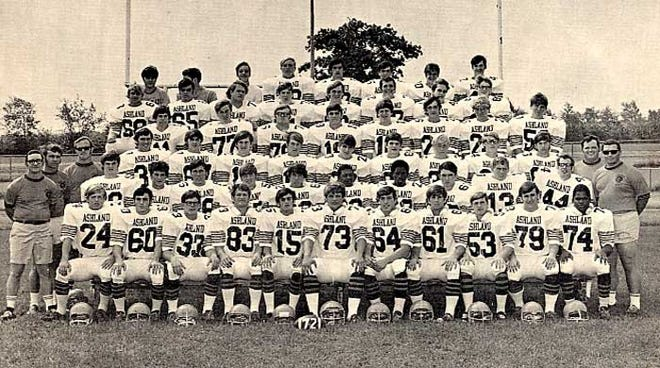 The 1972 Ashland High School football team poses for a team picture.