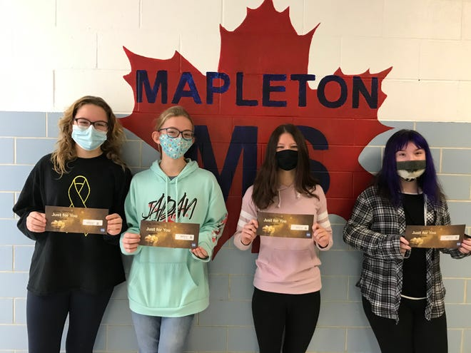 Girls with Goggles gift card winners included, from left, Emma Oxenrider, Ella White, Jocelyn Turner and Lilly Stuck.