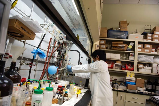 Anilkumar Karampoori, a post-doctoral researcher, works in a lab at the nonprofit Blumberg Institute, where dozens of scientists are engaged in testing and treatment projects to fight COVID-19.