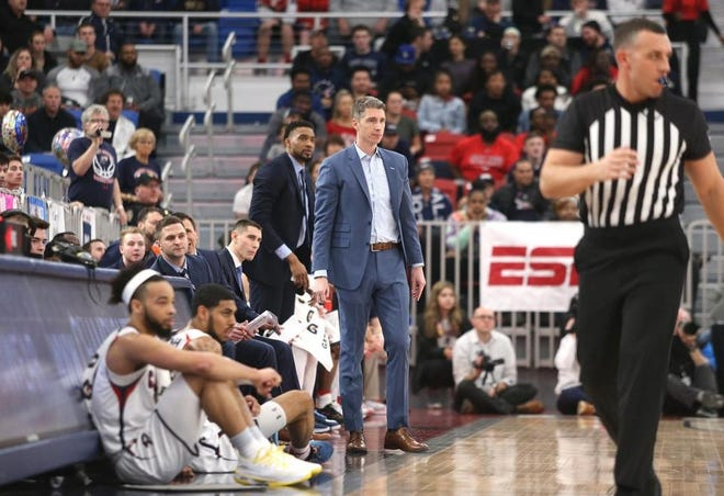 Robert Morris coach Andrew Toole looks on during the 2020 Northeast Conference championship game.