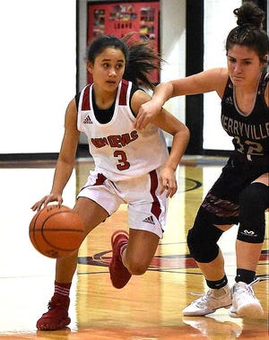 Ariana Yates (3) scored a single-game record 65 points Tuesday night in leading Pickering to a double OT win over Hackberry, 80-73.