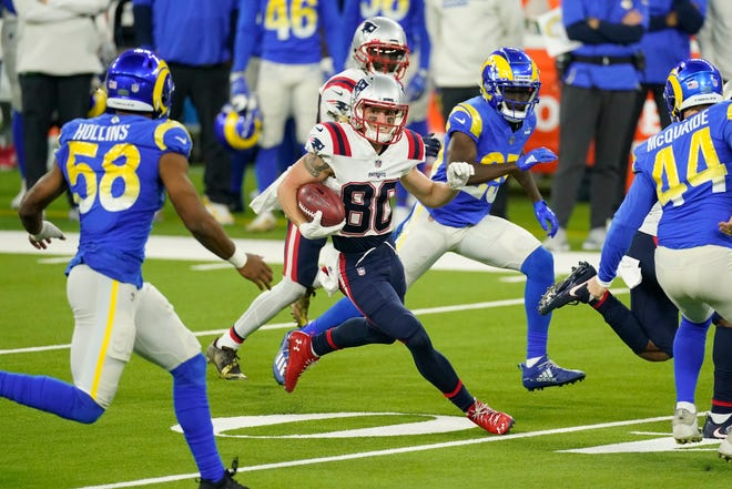 New England Patriots wide receiver Gunner Olszewski (80) runs against the Los Angeles Rams during a Dec. 10 game in Inglewood, Calif.