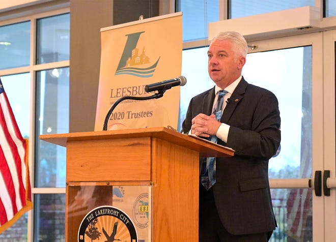 City Manager Al Minner presents the 2020 State of the City address at the Leesburg Venetian Center on Thursday. [Cindy Peterson/Correspondent]