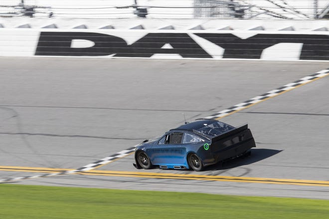 Chris Buescher takes the Next Gen car past the start-finish line during a two-day test at Daytona International Speedway this week.