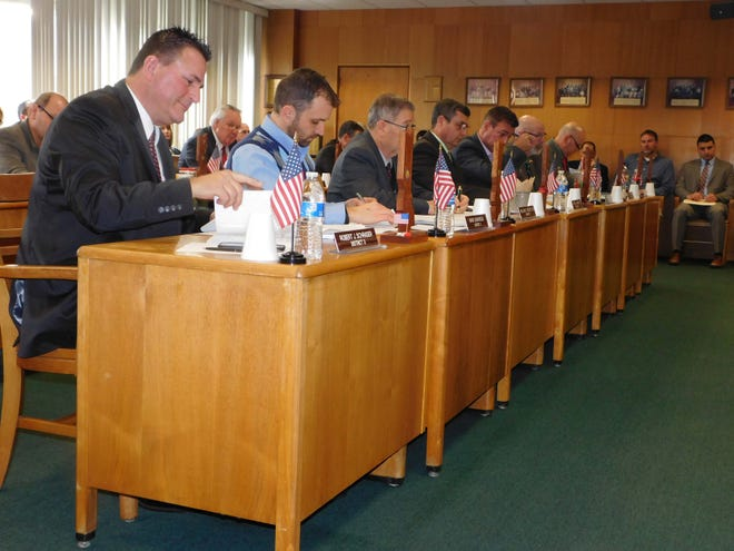 Members of the Herkimer County Legislature, shown during a 2019 meeting, met via Zoom Wednesday to conduct a public hearing on and adopt a budget for 2021.