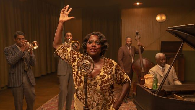 From left, Chadwick Boseman as Levee, Colman Domingo as Cutler, Viola Davis as Ma Rainey, Michael Potts as Slow Drag, and Glynn Turman as Toldeo in 'Ma Rainey's Black Bottom.'
