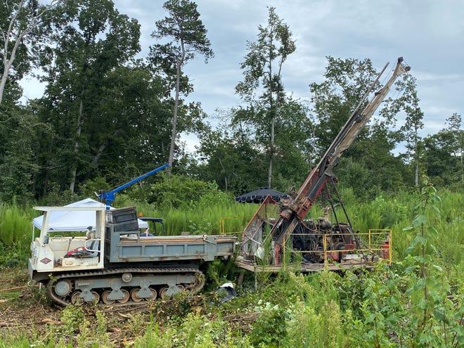 A core drilling machine runs in rural northwest Gaston County.