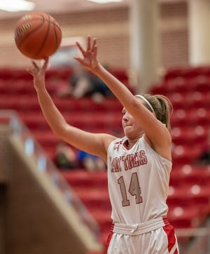 Glen Rose's Hannah Cantwell sizes up a 3-point attempt against Tolar on Saturday.