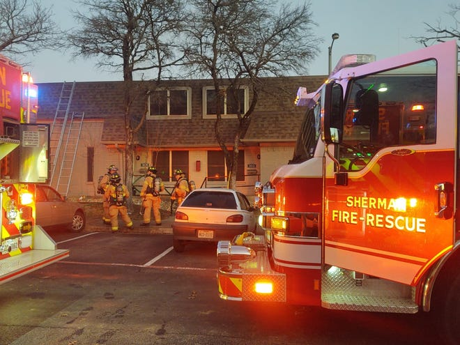 A late afternoon fire at the Northridge Villages apartment complex in Sherman left two units damaged and about four families displaced for the night.