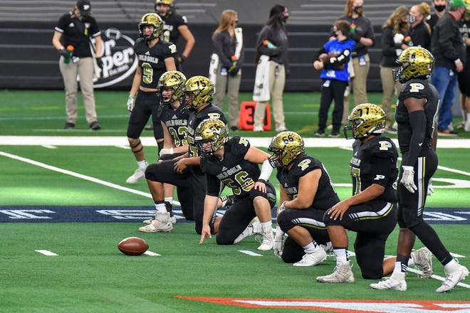 Post's defense lines up during the first half of the Class 2A, Division I state championship football game Dec. 17, 2020 against Shiner at AT&T Stadium in Arlington. It marked the Antelopes second straight state title appearance.