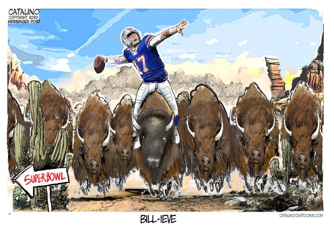 A Ken Catalino cartoon about the Bills' drive to the postseason